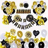 BRT Décorations de fête en noir et or (90pcs) Bannières de joyeux anniversaire Ballons 18ème 20ème 30ème 40ème 50ème 60ème 70ème Décorations d'anniversaire Ballons d'anniversaire