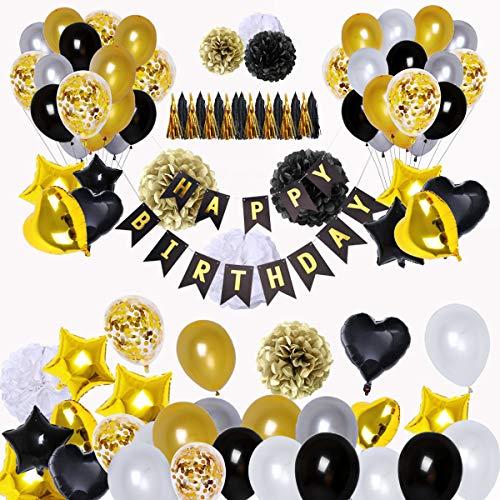 SZHUIHER Schwarz und Gold Party Dekorationen (90Pcs) Alles Gute zum Geburtstag Banner Sterne Herz Folienballons 18. 20. 30. 40. 50. 60. Geburtstag Dekorationen Geburtstag Ballons