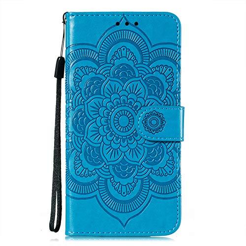 JZ Capa carteira Mi CC9 Mandala para Xiaomi Mi CC9/Mi 9 Lite Flowers Flip Cover com suporte e alça de pulso - Azul