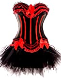 Forever Young UK Ladies Burlesque Moulin Rouge Corset + Tutu Sexy 2 Piece Fancy Dress Costume Red with Black Stripes Bustier Lingerie Corset Halloween Hen Party Outfit (Size 8)