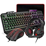 HAVIT Gaming Tastatur {DE Layout} & Maus & Headset & Mauspad Combo Set 4 in 1 für PC / Computer / Laptop / XBOX / PS4 / Tablets und mehr, Schwarz