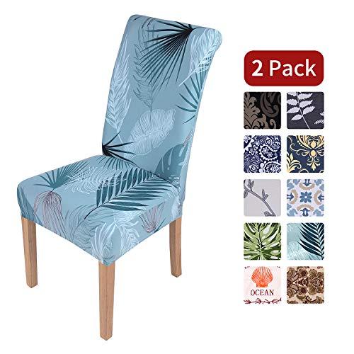 Homaxy Stretch Stuhlhussen Blumen Universal Hussen für Stuhl Esszimmer Waschbare Stuhlbezüge (2 Stück, Style 3)