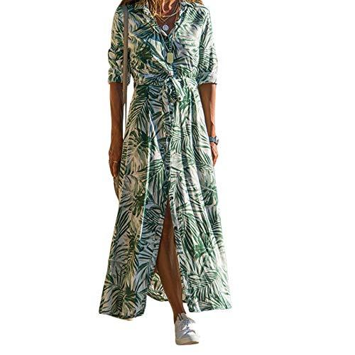 Carolilly Vestidos de Mujer Vestidos Largos y Elegantes de Verano para Mujer Falda Larga con Estampado Floral Vacaciones Sexy