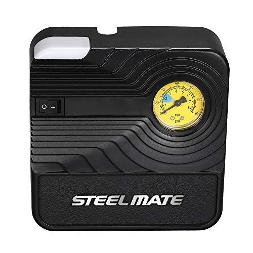 Voupuoda Inflador de neumáticos de bomba de compresor de aire portátil automotriz de 12 V CC Steelmate para inflables de bolas de bicicleta de coche