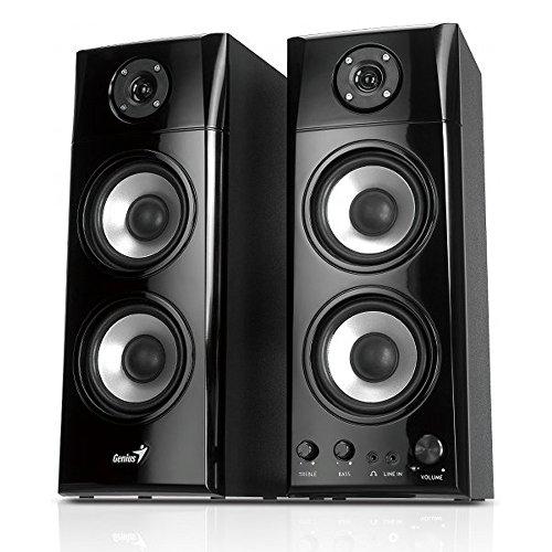 Genius SP-HF1800A 50Watt(85dB) schwarz, 2.0 Drei-Wege Lautsprechersystem aus Holz