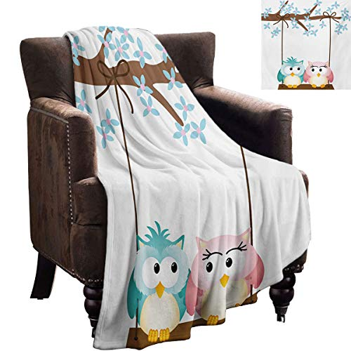 LanQiao Nursery Chunky Knit Blanket Two Owls in Love on a Swing Blossoming Branch Valentines Romance Gift for Daughter Boyfriend 60'x50' Pale Blue Pale Pink Brown