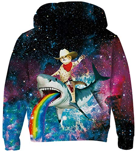 LUCKYWE 3D Print Kids Pullover Hoodies Casual Hooded Sweatshirts Tops with Pocket for Age5-14 Boys Girls Rainbow Shark 8-11 Years