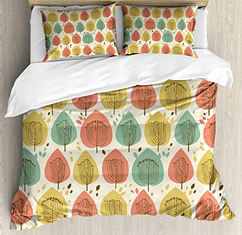 HUNKKY Tree Duvet Cover Set, Scandinavian Style Floral Pattern in Pale Palette Abstract Fall Tree, Queen Size, Green Coral