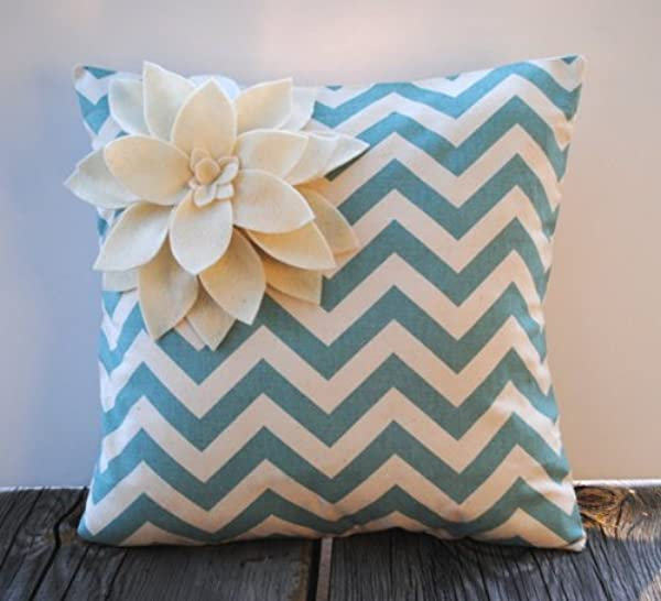Zig Zag Village Blue Natural Pillow Cover With Felt Flower Cushion Decorative Throw Pillow Decorative Pillow Accent Pillow 18x18 Pillow