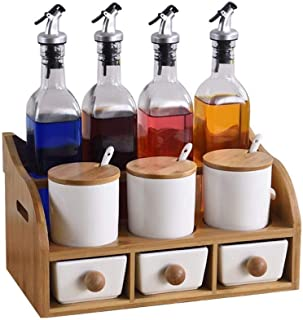 Pots à épices,Ensemble de Bocal à épices sel Sucre assaisonnement boîte Organisateur épice conteneur Condiment Pot Cruet B...
