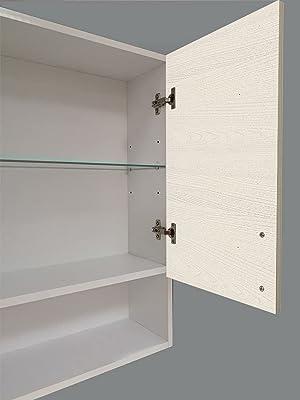 Mama Store Pensile Doppio AtenalAV Armoire Murale Double Mat Compartiment à Jour L. 60 cm x 22 cm x H. 71, Blanc Opaque/Orme Blanc, L. 60 cm x P. 22 cm 71 CM