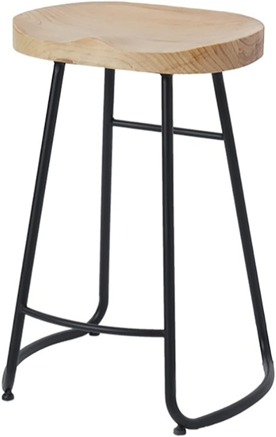 Yan Fei Modern Minimalist Solid Wood bar Stool, Nordic Fashion bar Stool, Creative Personality Coffee Shop Clothing Store high Stool, Metal Bracket, Sitting Height  45cm 65cm 75cm Comfortable Stools