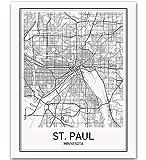 St. Paul Poster St. Paul Map of St. Paul City Map Posters Modern Map Art City Prints St. Paul Map Print Minimal Print Map Poster City Poster City Map Wall Art Minimalist Posters 8x10