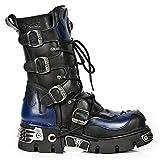 NEW ROCK 107-C5 Unisex Boots Black Blue Leather Skull Devil Gothic Punk Biker 40