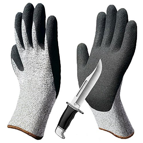 Cut Resistant Gloves 2 Pack, Superior Grip Coating Level 5 Protection Safety Gloves, Durable Breathable for Gardening Construction Woodworking Auto Multi-Purpose.