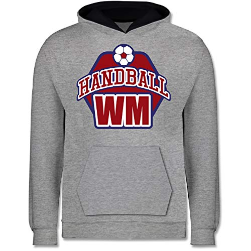 Shirtracer Handball WM 2019 Kinder - Handball WM 2019-140 (9/11 Jahre) - Grau meliert/Navy Blau - Handball - JH003K - Kinder Kontrast Hoodie