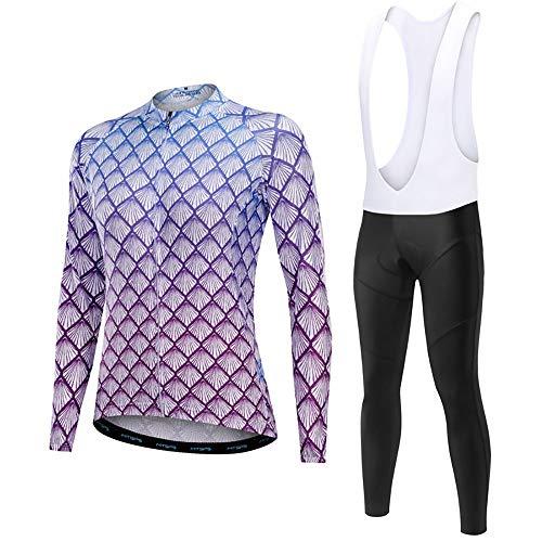 JTRHD Atmungsaktives Fahrradtrikot Frauen-Jersey-Langarm Langarm-Top Hosen Breath Endlagendämpfung Feuchtigkeit und schnelltrockn Trikotset Sommerkleidung (Farbe : A2, Size : M)