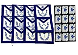 Regalia Craft Masonic Blue Lodge Officers Apron Set of 12 Apron with Free 12 Cotton Gloves