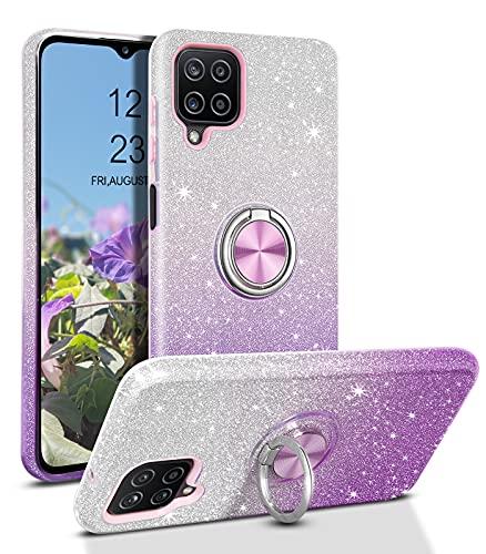 YINLAI - Carcasa para Samsung Galaxy A12 5G (silicona, con función atril, 3 en un soporte magnético para coche, color morado degradado