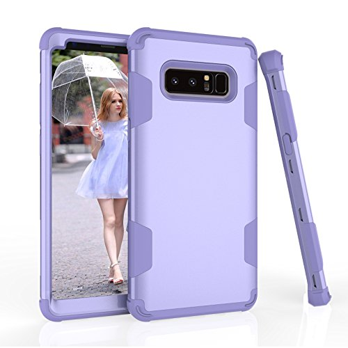 Shinyzone für Samsung Galaxy Note 8 Hülle,Hybrid 3 in 1 Kombination Silikon Innen Hartplastik Schutzhülle mit Lila Stilvolle Farbe für Samsung Galaxy Note 8