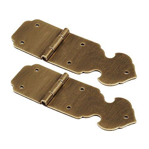 RZDEAL Bisagras de latón de 85 mm en forma de flecha, estilo antiguo vintage, para caja de herramientas, un par, marrón
