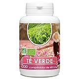 Pastillas de Te Verde Orgánico (Certificado) | 200 pastillas | Dosis de 400 mg | Producto apto para Veganos | Reduce el colesterol | Ayuda a adelgazar