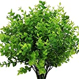 HATOKU 11 Pack Artificial Greenery Outdoor Plants Bouquets Stems Plastic Boxwood Shrubs for Home Farmhouse Garden Office Wedding Indoor Outdoor Decoration