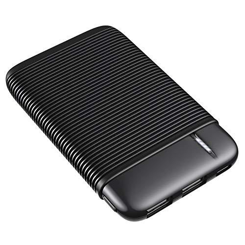 RIWNNI Mini Powerbank 5000mAh, Ultra Compatto batteria esterna Caricabatterie Portatile con 2 Ingresso e 2 Uscite Ricarica Rapida Caricatore Portatile Cellulare per iPhone, Samsung, Huawei (Nero)