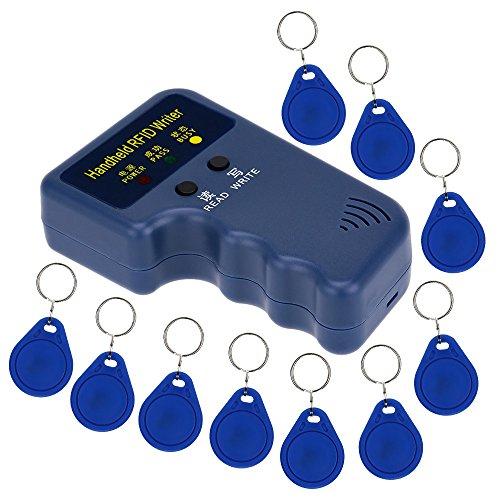 LIBO Handheld 125khz RFID Duplizierer Schlüssel Kopierer Reader Writer ID Karte Cloner Programmer + 10er Beschreibbar EM4305 / T5577 Key Karten Keyfobs