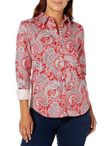 Chaps Women's Long Sleeve Non Iron Cotton Sateen-Shirt, RED Blaze/Navy, XS-Petite Size