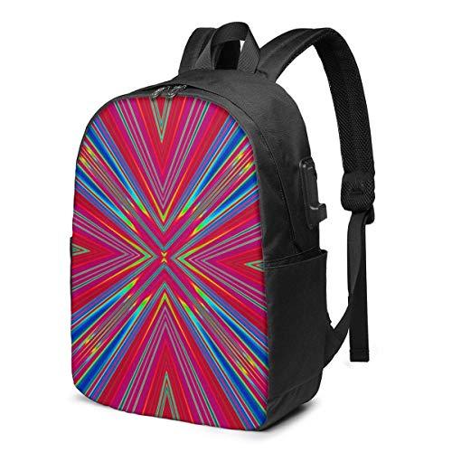Travel Laptop Rucksack, Strahlung Leuchtend bunt Travel Laptop Rucksack College School Tasche Casual Daypack mit USB-Ladeanschluss
