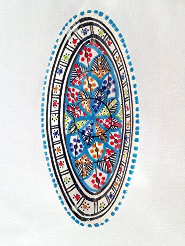 Coupelles ovales faites à la main et peintes à la main. Deux tailles au choix : pain, tapas, bols. Motif chrysanthèmes tunisiens arc-en-ciel, rouge et bleu (chrysanthème tunisien, bleu, grand format 40 cm environ)