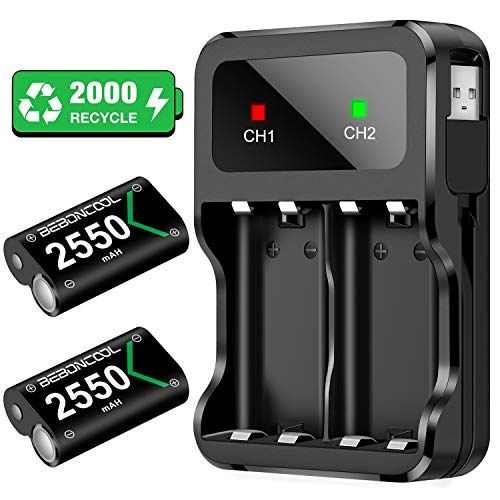 BEBONCOOL Rechargeable Battery Pack Compatible With Xbox One Controller, 2x2550mAh Rechargeable Batteries, Rechargeable Battery Compatible With Xbox One/Xbox One S/Xbox One X/Xbox One Elite Controller
