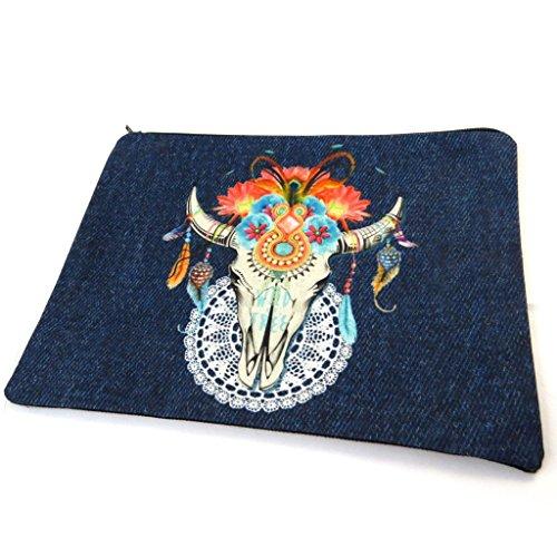 Les Trésors De Lily [N8562] - Trousse à Maquillage 'Navajos' Bleu - 23x17 cm