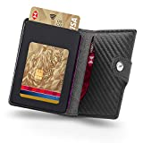 Portafoglio Uomo Con Carte Di Credito In Pelle Fibra Di Carbonio & 1 Hand-Push Porta...