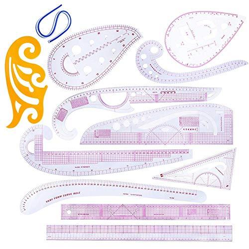 Euopat Nähen Lineal, Französisch Kurvenlineal Zum Nähen, DIY Nähen Lineal Schneider-Set Zum Nähen Schneiderei Muster Design-Zeichnungsvorlage, Mehrzweck-Schneidelineal