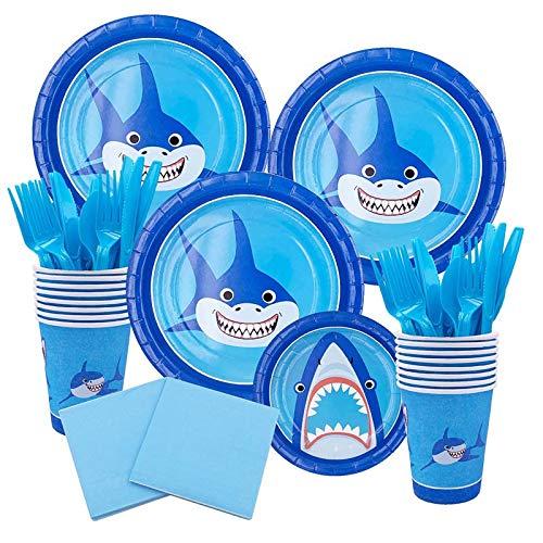 Amycute 124 piezas de decoración para fiestas de cumpleaños mágicas, platos, tazas, servilletas, tenedores, cuchillos, cucharas, para 16 personas.