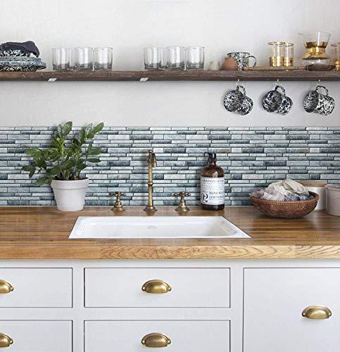細めの石のレンガ風タイルシールです。防水性、防汚性に優れ、キッチンの水はね部分に貼れば、きれいを保ちやすくなります。