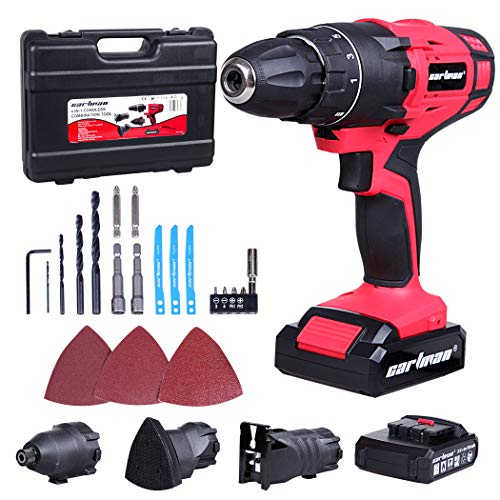 CARTMAN 4-IN-1 Cordless Combo Kit, 2x20V Battery Pack - Screwdriver, Jigsaw, Sander & Impact Wrench