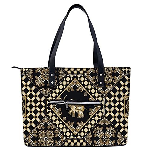 Bolso de mano con estampado de elefante tribal para ir de compras, gimnasio, senderismo, viajes, yoga, bolsa de hombro con bolsillos exteriores con cremallera