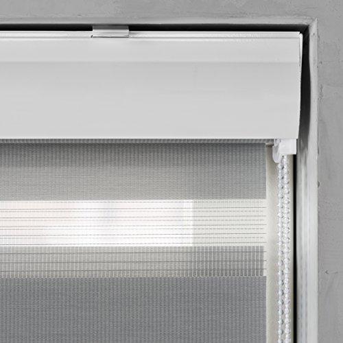 JalousieCrew Doppelrollo mit Kassette Farbe grau - Breite 40 bis 220 cm Länge 175 cm - Duo - Rollo (220 x 175 cm)