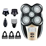 Men's 5 In 1 5D Electric Rotary Shaver Rechargeable Waterproof Five-Headed Beard, Hair Razor for a Perfect Bald Look, Cordless and USB Rechargeable