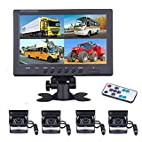 Vehicle Backup Camera - 9 Inch 4-Split Monitor Front View, Rear View Camera 18 IR Night Vision Waterproof Auto Camera with 2x33 ft and 2x65ft Cables for RV, Trailer, Bus,Trucks