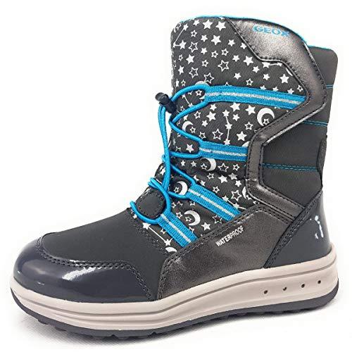 Geox Mädchen Boots Roby Girl WPF, Kinder Winterstiefel,lose Einlage,wasserdicht, Winter-Boots Outdoor-Kinderschuhe,DK Grey/Azure,28 EU / 10 UK Child