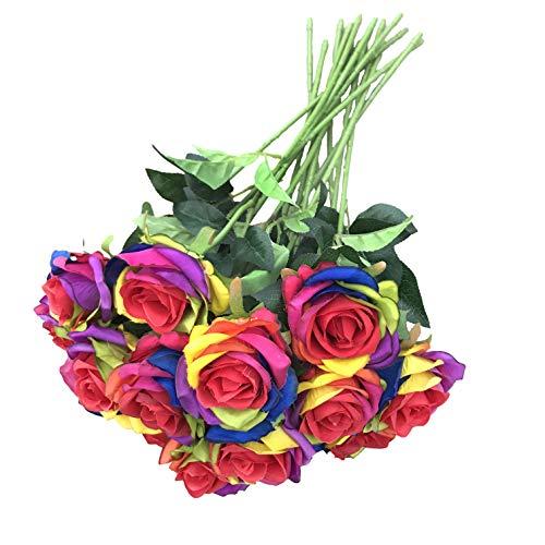 DALAMODA Wholesale 15pcs Artificial Silk Rose Flower Rainbow Roses Flowers-DIY Bridal Bouquet Flower or DIY Any Home Garden Decoration Pack of 15pcs(Rainbow Rose)