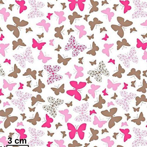 100% Baumwolle Baumwollstoff Kinder Kinderstoff Meterware Handwerken Nähen Stoff Tiermotiv 100x160cm 1 Meter (Schmetterlinge Pink)