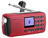 Retekess HR11W NOAA Weather Radio, AM FM Bluetooth Radio, Solar Crank Emergency Radio with Flashlight, Phone Charging, SOS Alert and Clock (Red)