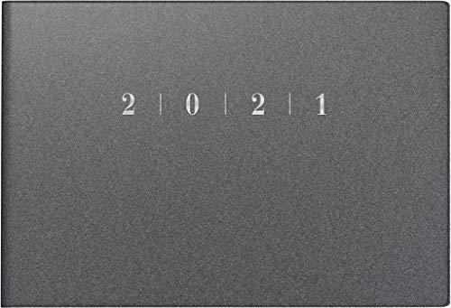 rido/idé 7017563801 Taschenkalender Septimus, 2 Seite = 1 Woche, 152 x 102 mm, Kunststoff-Einband Reflection grau, Kalendarium 2021