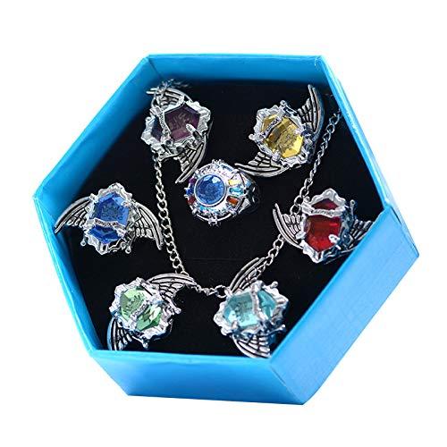 Ixkbiced 7 Pezzi/Set Katekyo Hitman Reborn Vongola Anime Cosplay Wing Rings Fashion Jewelry