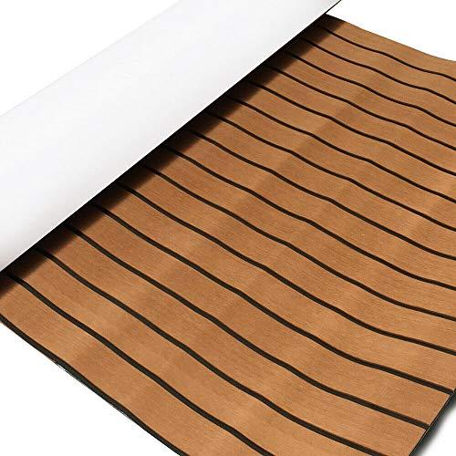 TABODD 240 x 90 x 0,6 cm Deluxe Marine Suelo pavimento Faux de teca de espuma EVA para revestimiento de barcos – Alfombra autoadhesiva para revestimiento de barcos